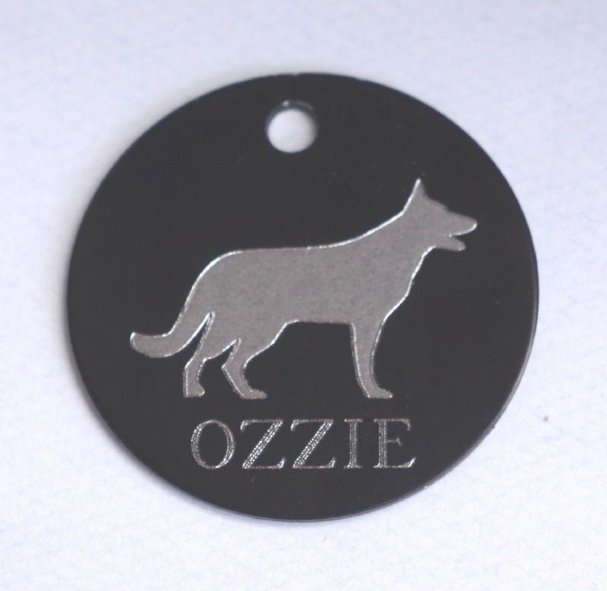 PERSONALISED ENGRAVED GERMAN SHEPHERD DOG ID TAG - CHOICE OF COLOUR & SIZE